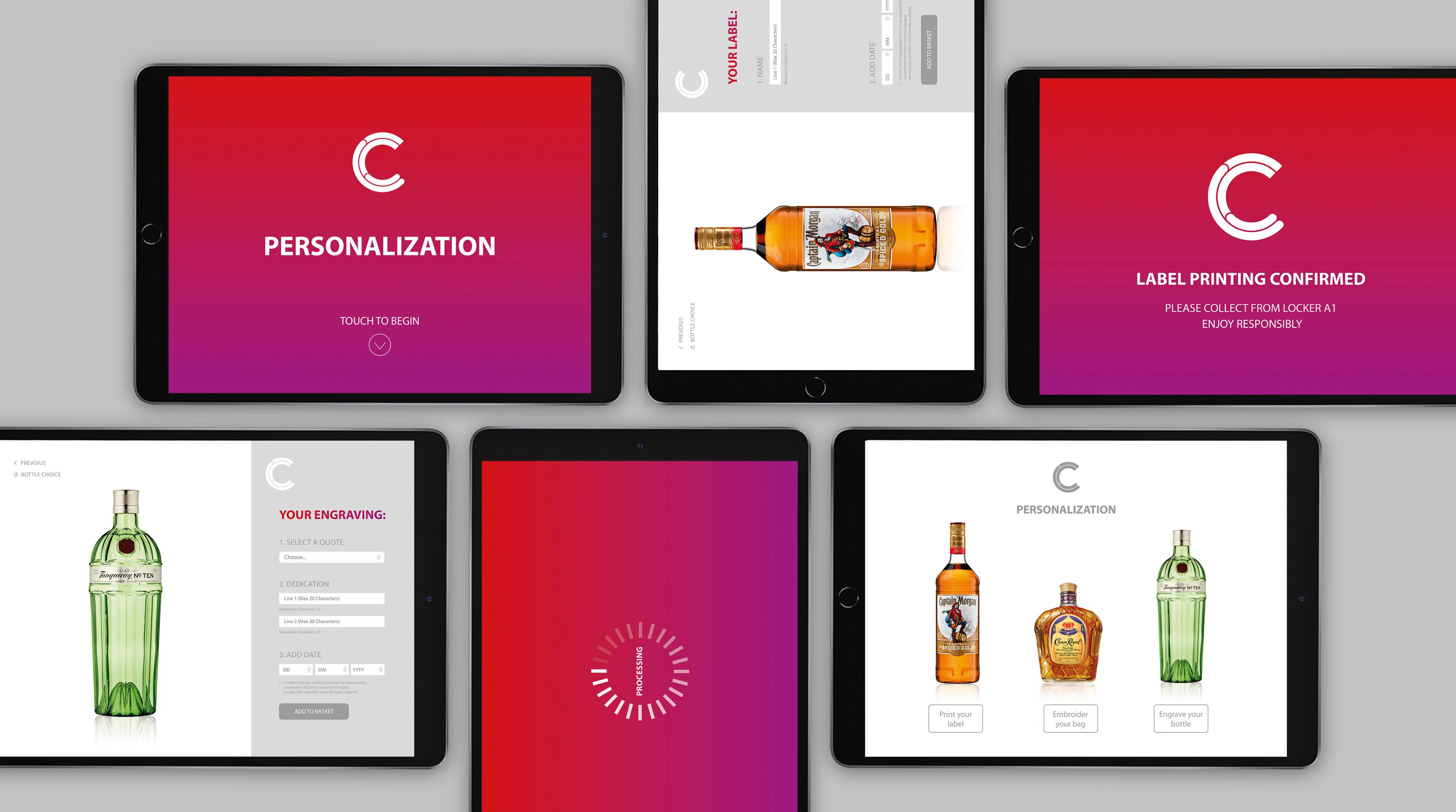 Shots of DCC apps created by Pope Wainwright on ipads