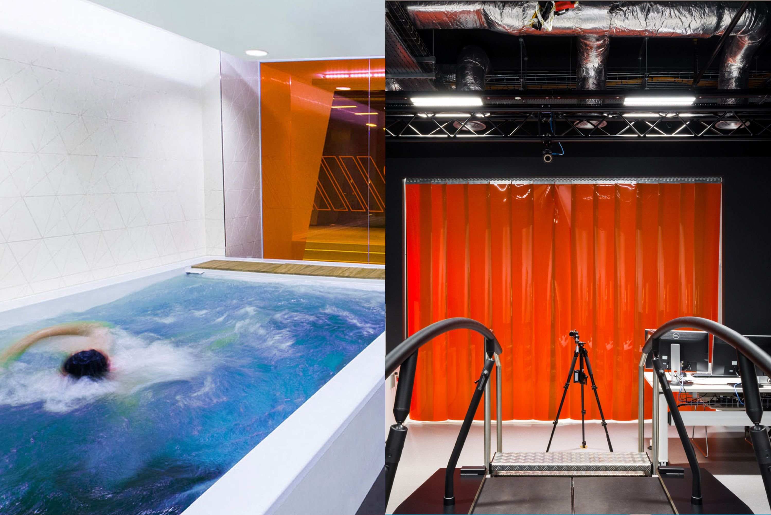 Split image of the GSL swimming pool and running machine lab