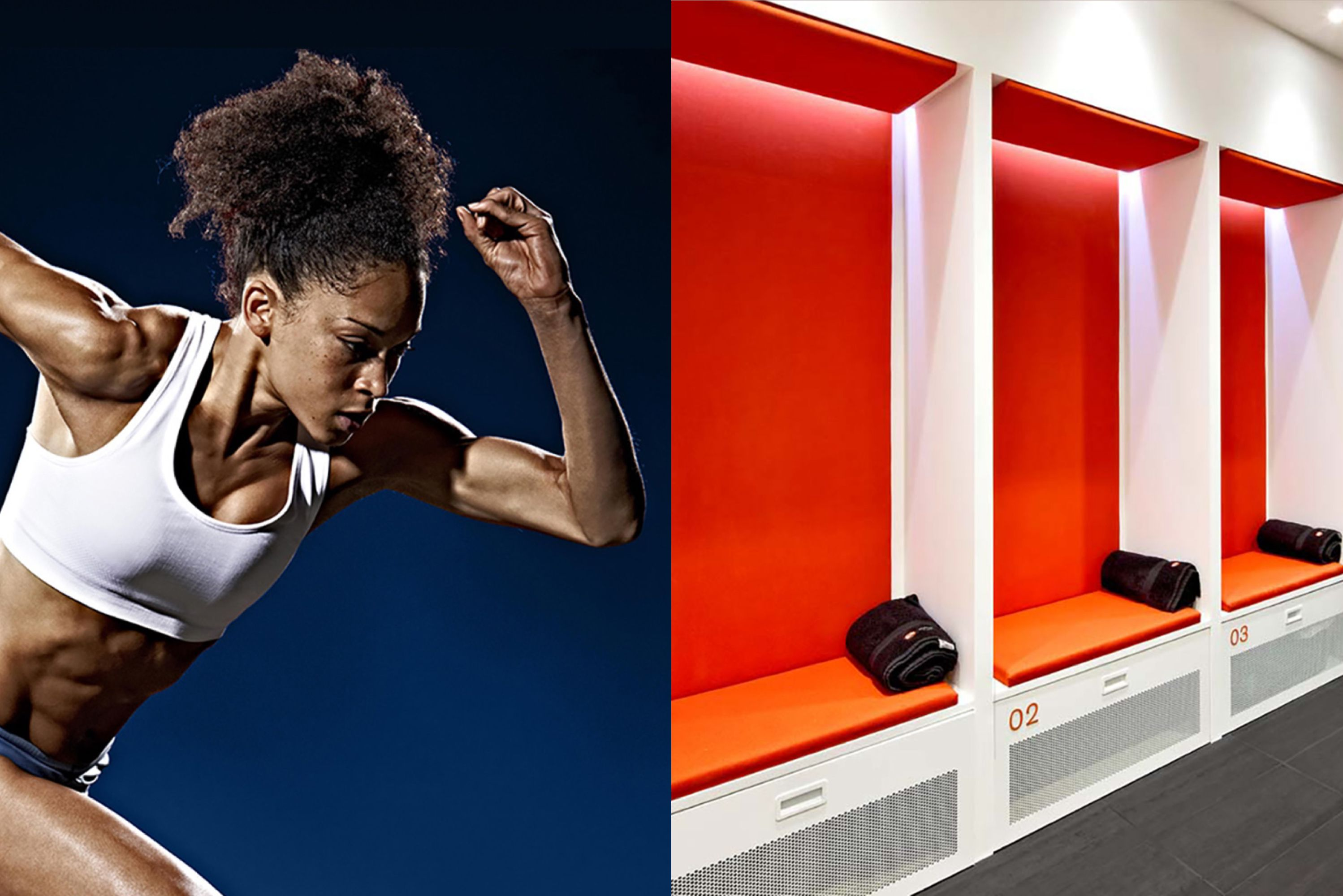 Split image of a female athlete in a running stance and an interior of a changing facility in the GSK lab