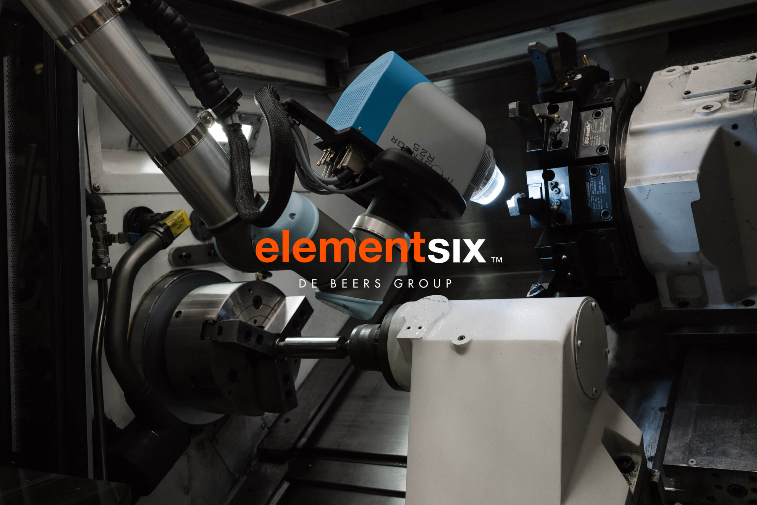 Production machinery overlaid with Pope Wainwright designed corporate brand identity