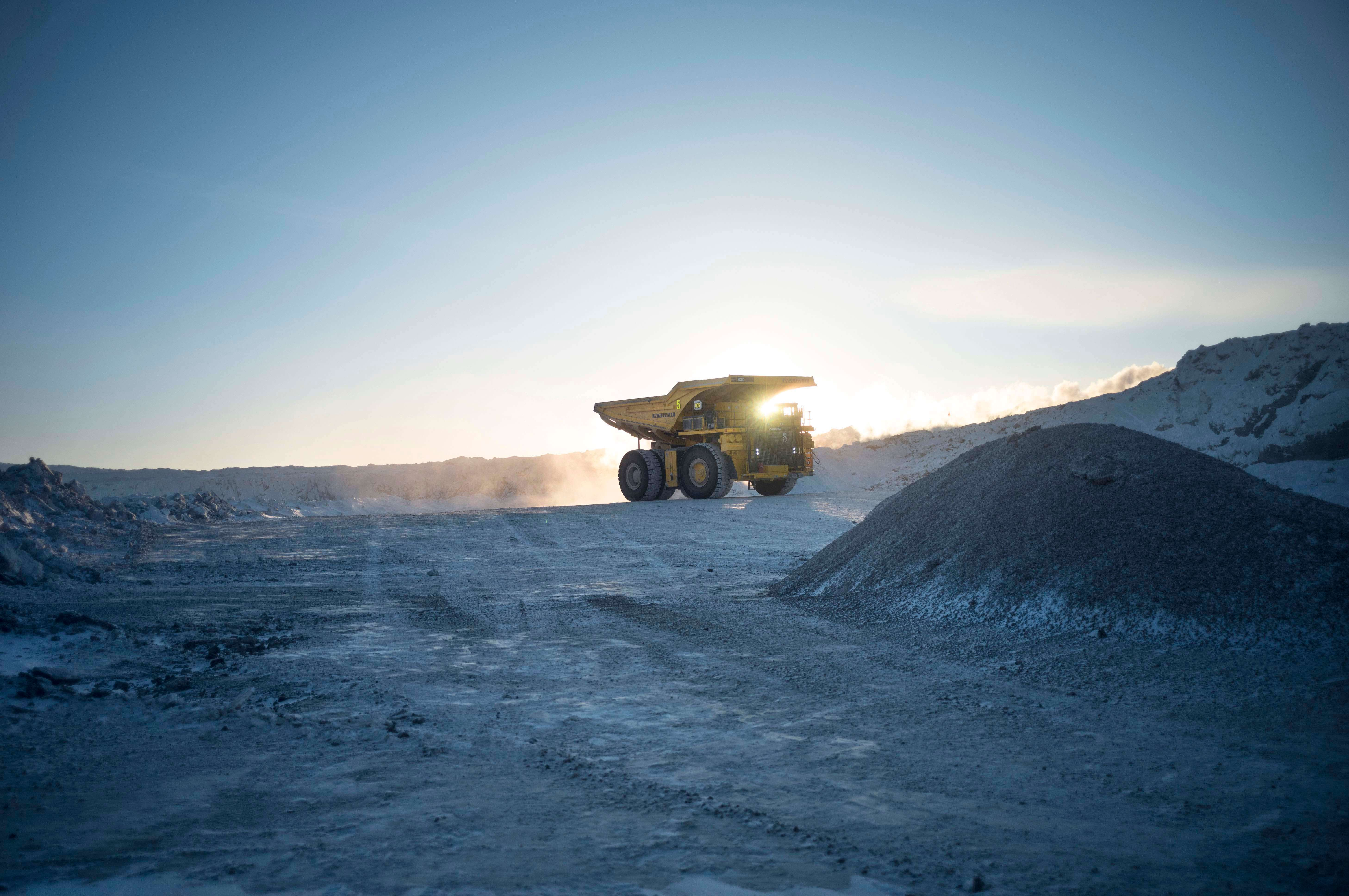 Mining Lorry driving through a quarry