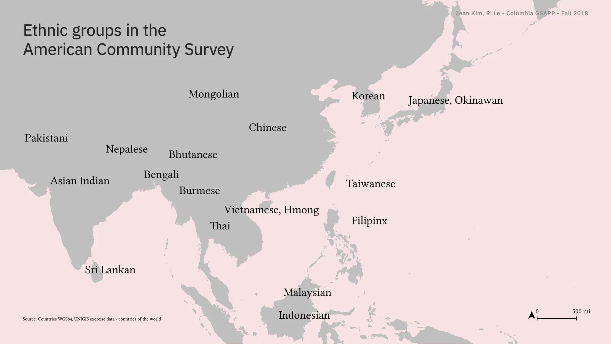 Map of ethnic groups in the American Community Survey