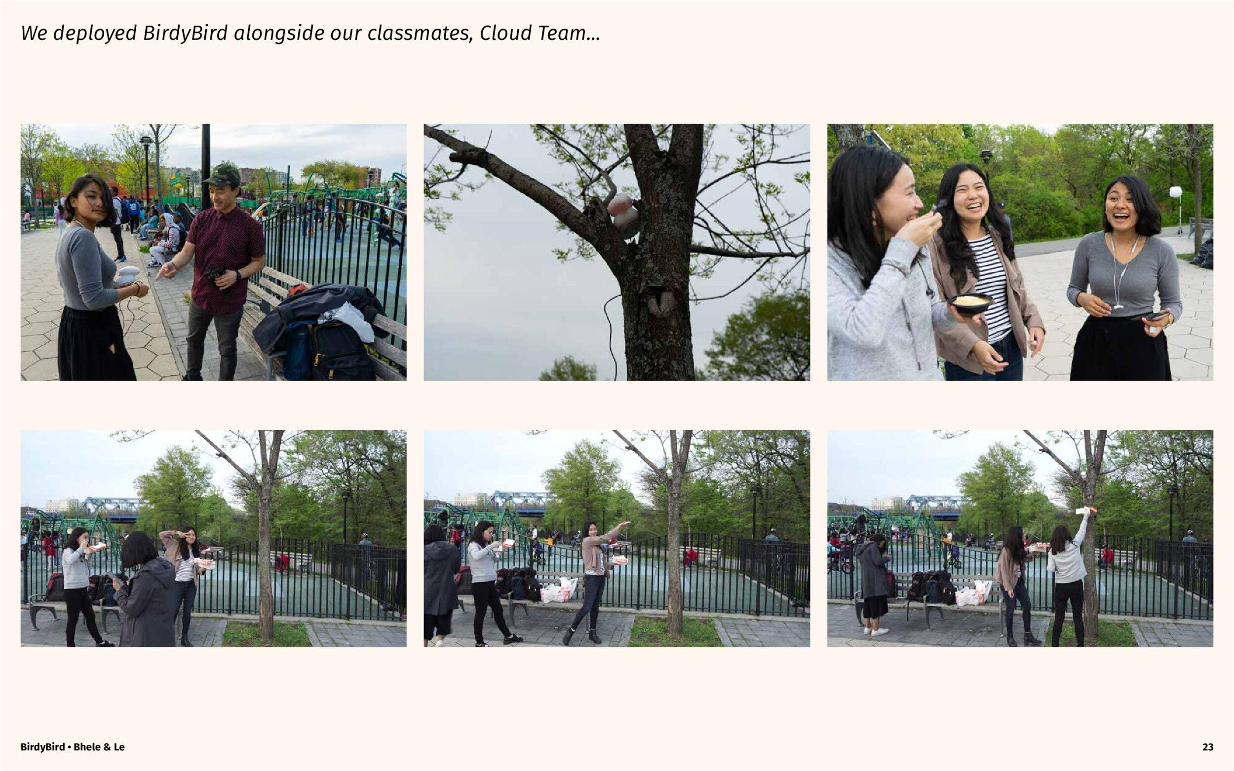 Enjoying the park with our classmates and BirdyBird.