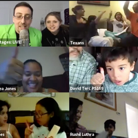families celebrate playing games on zoom