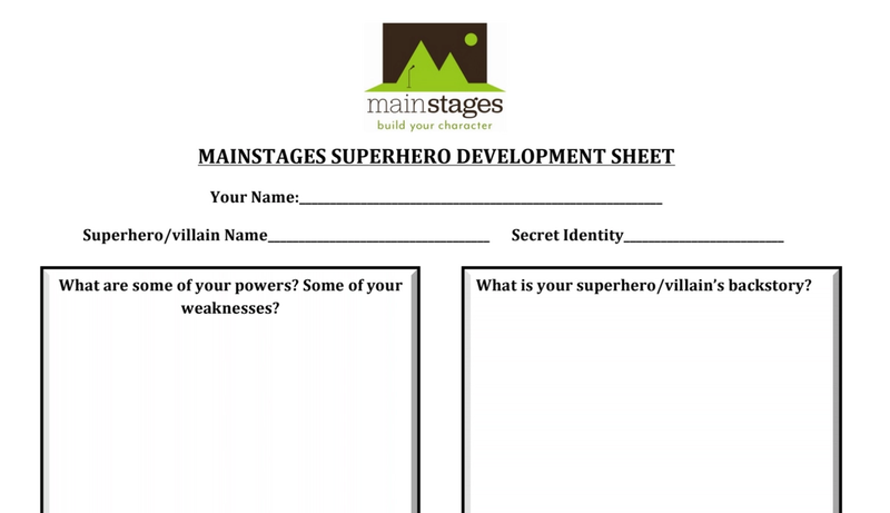 superhero development sheet