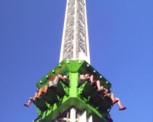 Image of guests on the X-Scream Tower ride