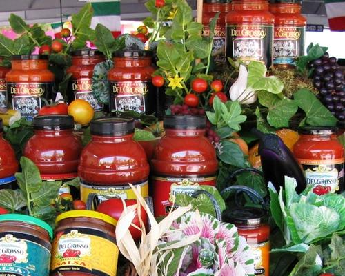 Large Baskets filled with DelGrosso brand sauces