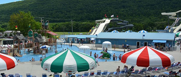 Families enjoying the Waterworks activity area at DelGrosso's Amusement Park