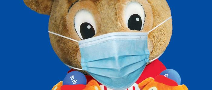 Buddy Bear wearing a facemask