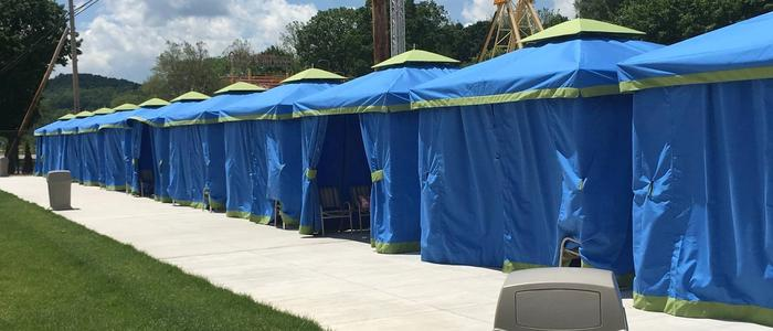 Cabanas for rent at the Laguna Splash Water Park