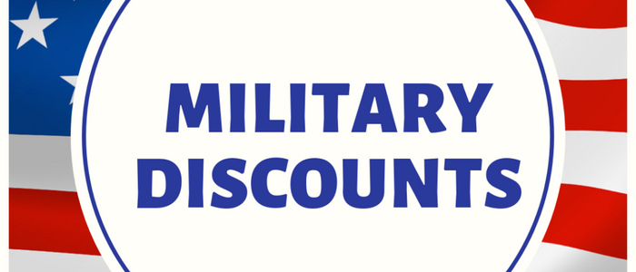 Military Discounts written over American Flag