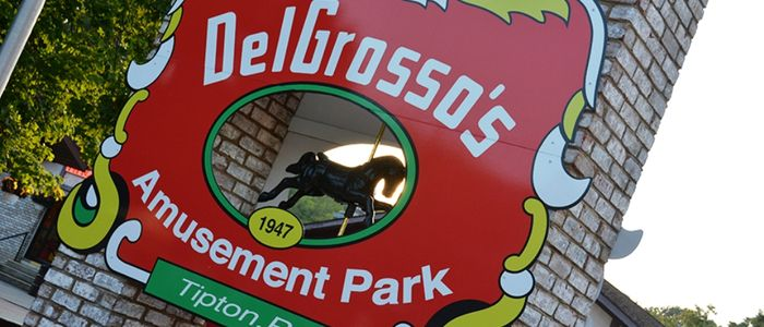 DelGrosso's Park Sign in the midway of the Park.