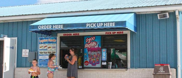 The Laguna Snacks concession stand inside Laguna Splash Water Park