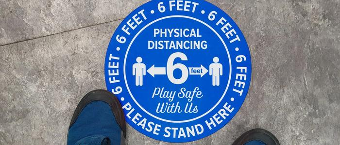 Physical Distancing Sign Please Stand Here