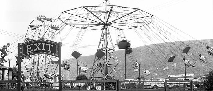 Historical photo of Bland's Park swing ride