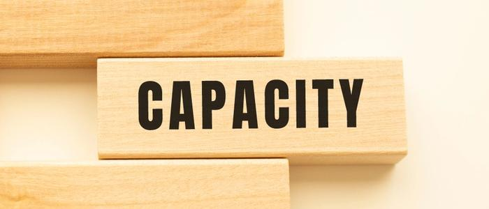 Blocks that spell out the word capacity