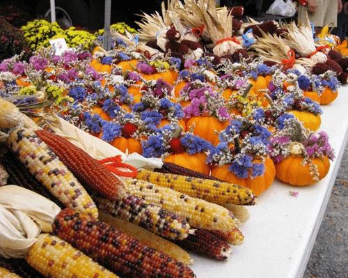 Mini pumpkin and Indian Corn fall decorations.