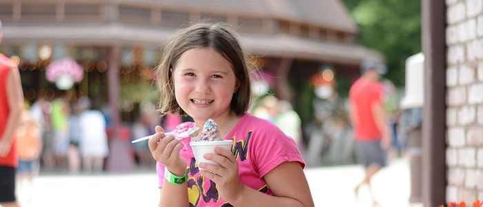 Girl eating Ice Cream at DelGrosso's Park