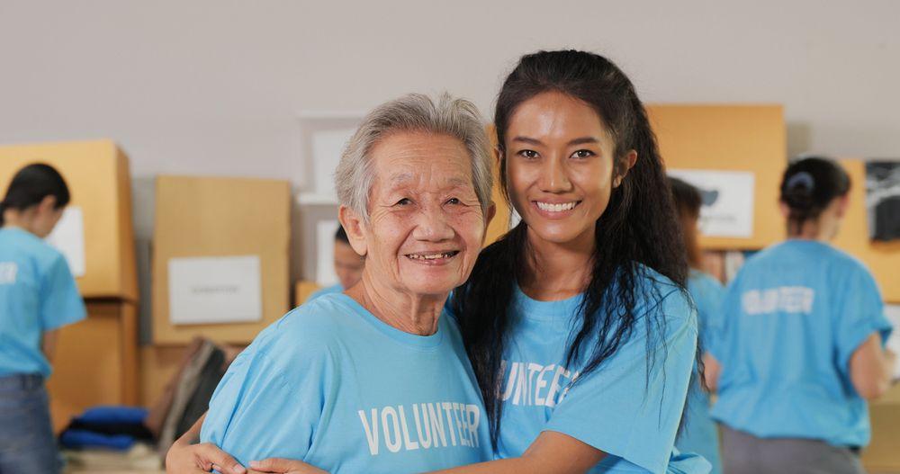 Humanitarian helping the elderly.