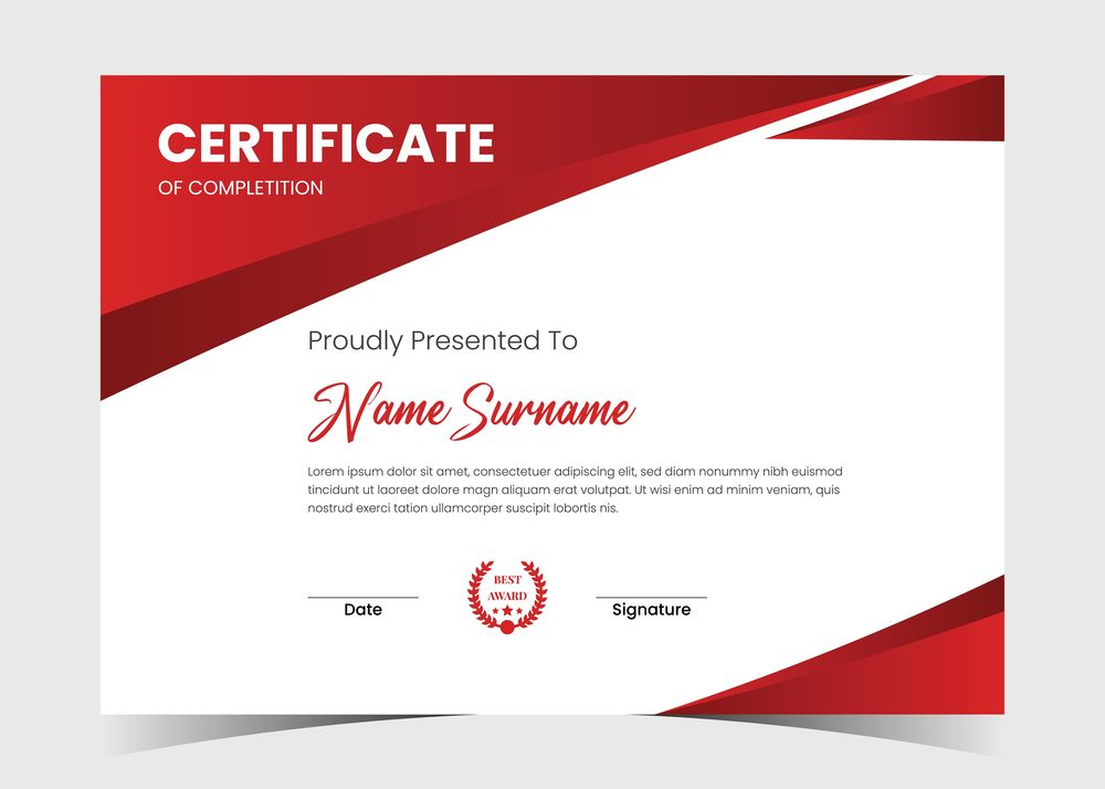 A picture of a certificate.