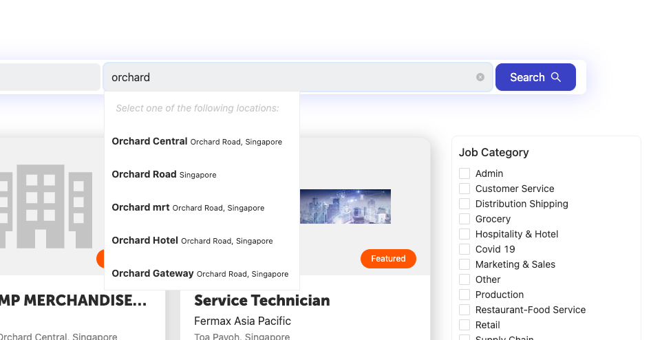 Find jobs from all around Singapore. From Tuas, Changi all the way to yishun!