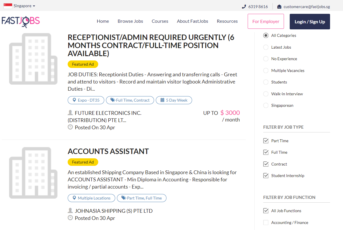 Fastjobs webpage