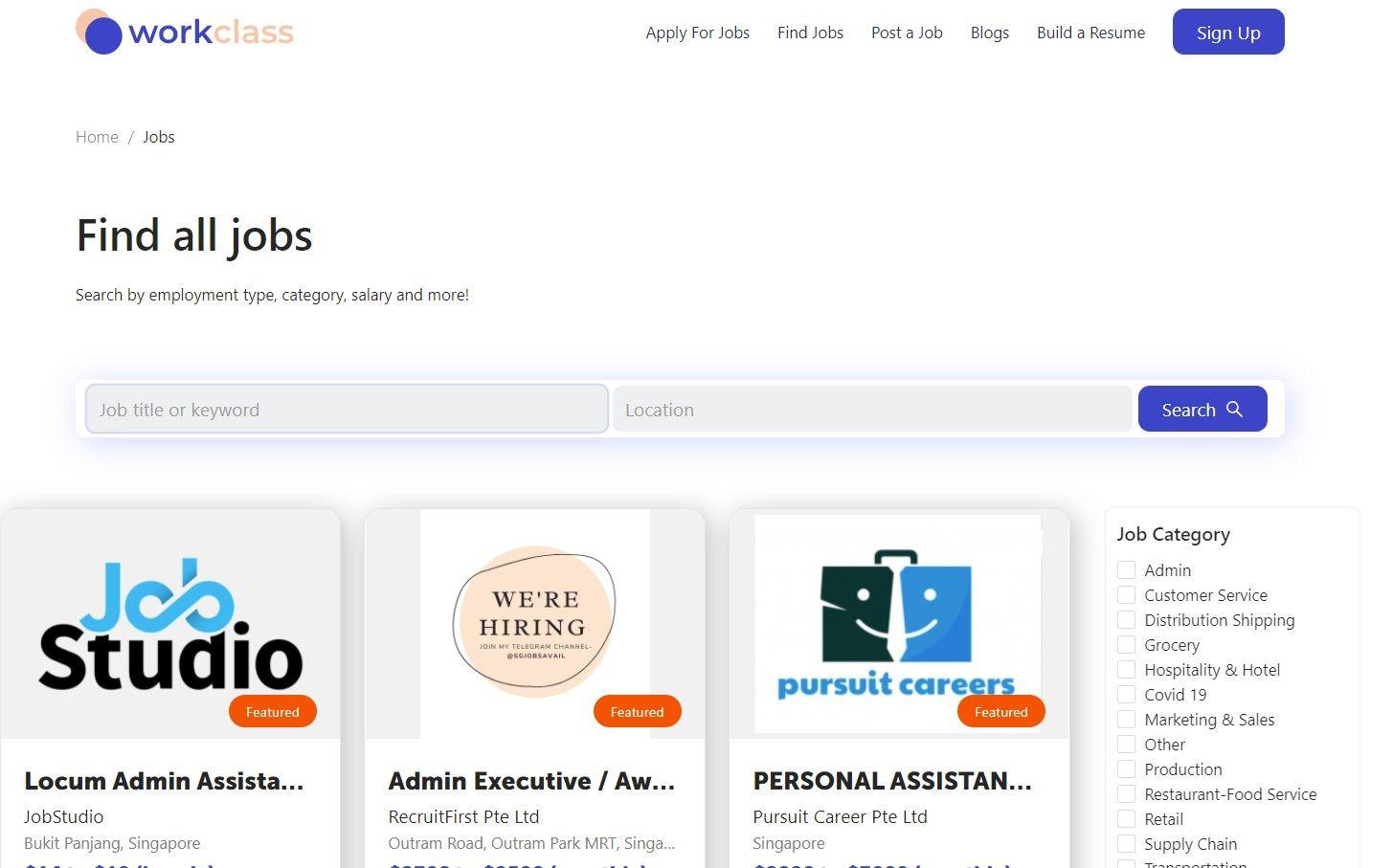 Workclass webpage