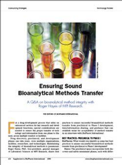 Ensuring Sound Bioanalytical Methods Transfer