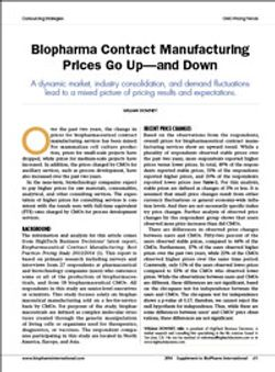 Biopharma Contract Manufacturing Prices Go Up—and Down