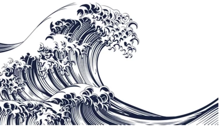 Black-and-white tsunami wave