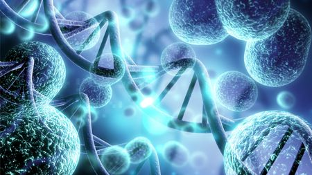 DNA strands and molecules against a blue background