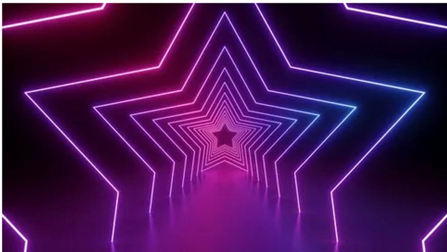 purple stars illuminating in the darkness