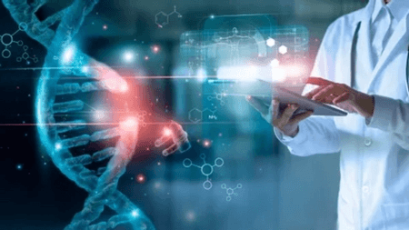 Scientist in a lab coat looking at a photo of a DNA strand