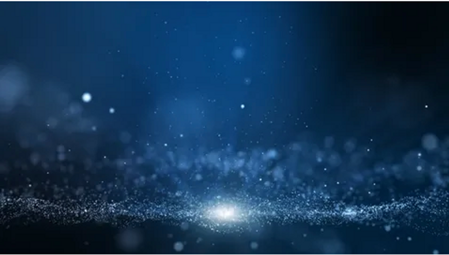 particles against a midnight-blue background