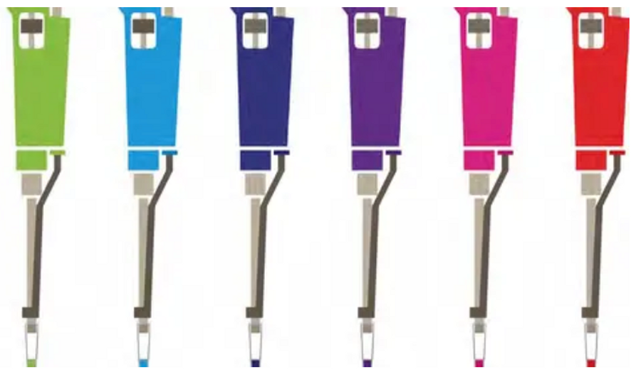 Five colorful pipettes in a line