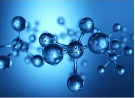 Blue molecules against a blue background