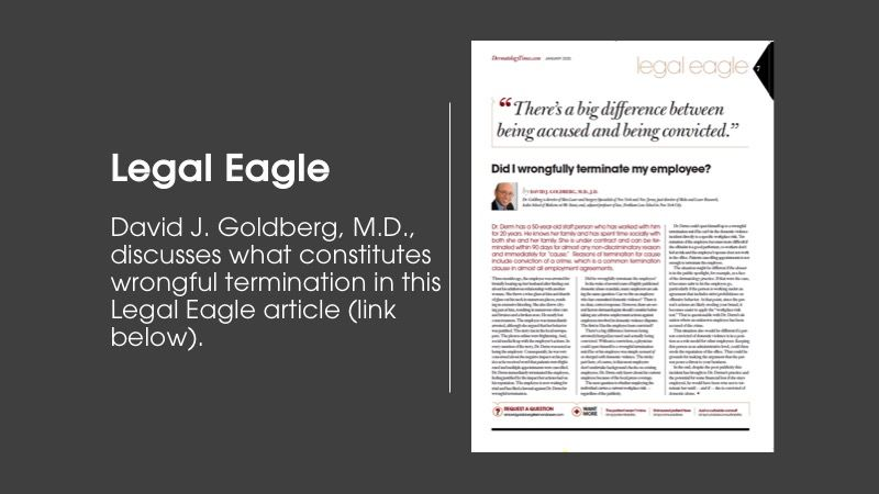 Legal Eagle column article from Dermatology Times January issue