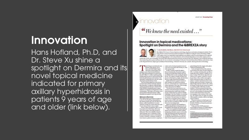 Innovation column article from Dermatology Times January issue