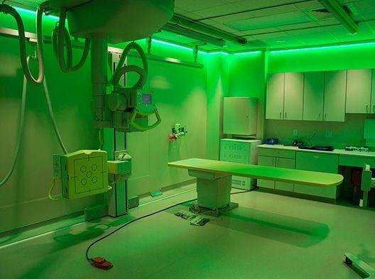 Green-hued fluoroscopy room