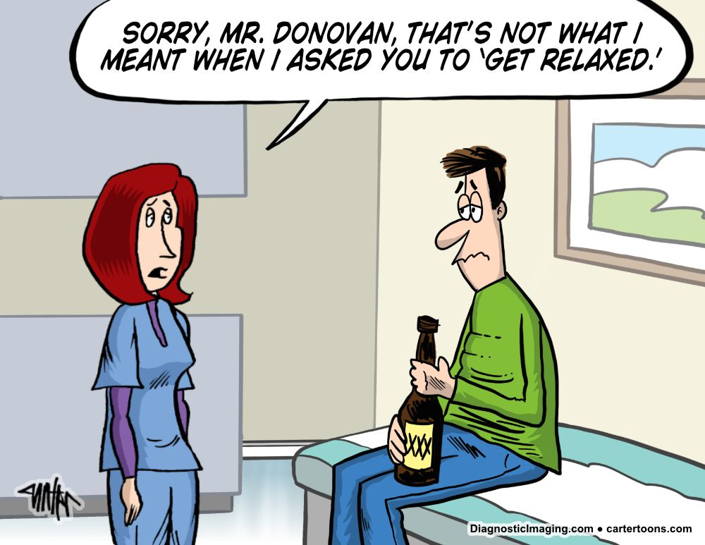 Patient holding alcohol to relax comic