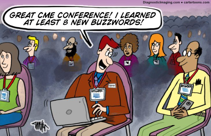 Comic, learning buzzwords at conference