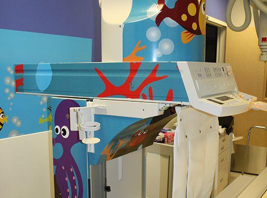 Under the sea-themed fluoroscopy room
