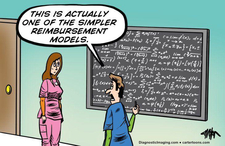 Comic, complicated reimbursement formula on a whiteboard