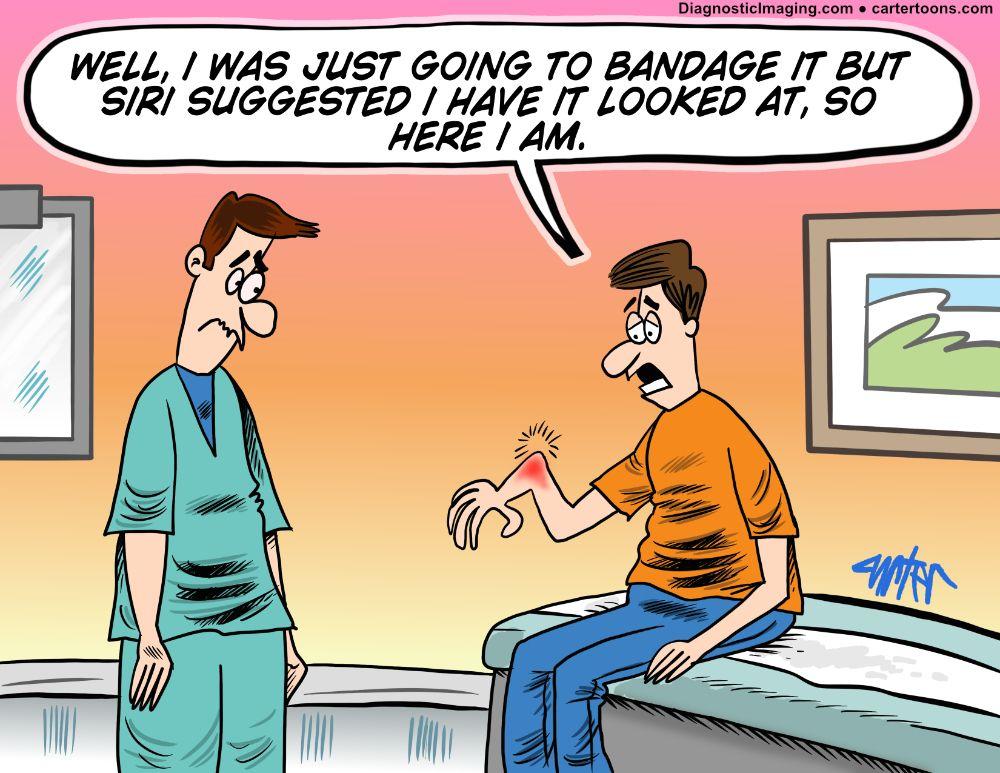 Patient with broken arm comic