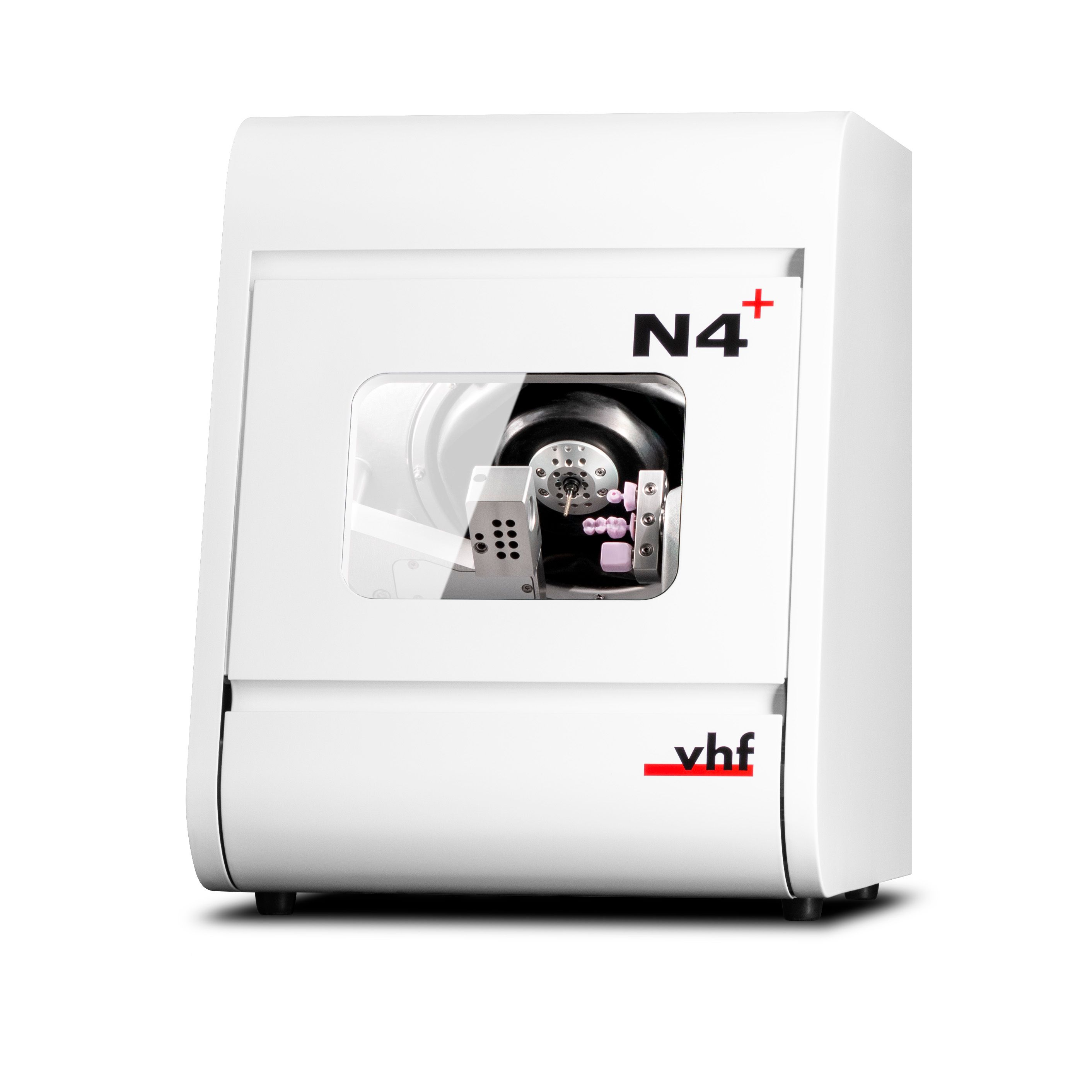 The N4+ is a wet processing machine for milling and grinding glass ceramic, composite and zirconia blocks as well as titanium abutments