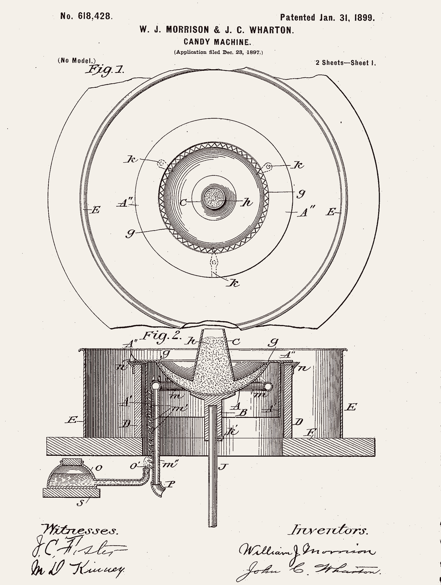 Patent for the original cotton candy machine