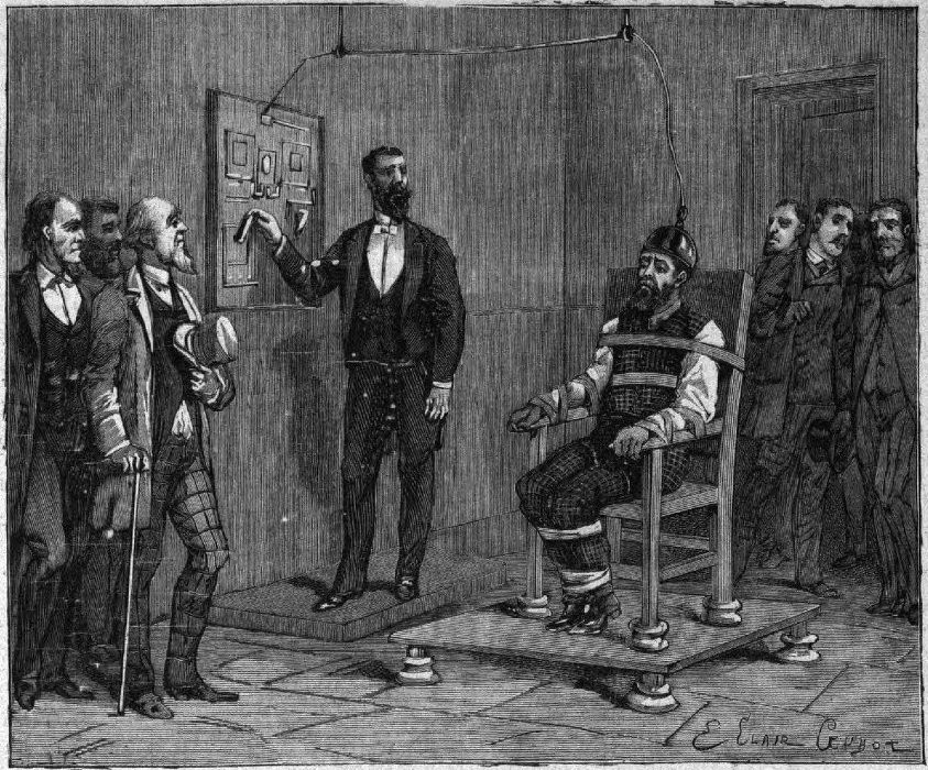 An etching of the first execution carried out via electric chair