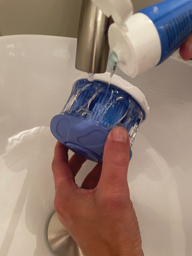 DentalFresh is applied inside the HyGenie to cleanse the appliance (Figure 4).
