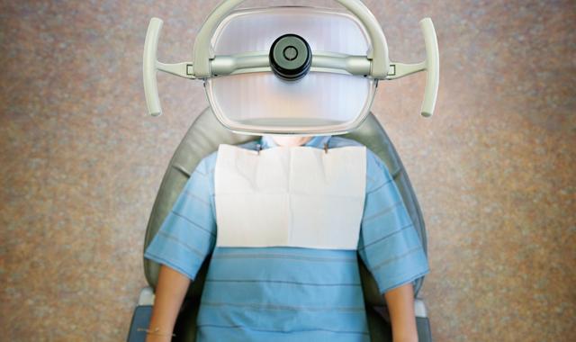 dental patient under a light