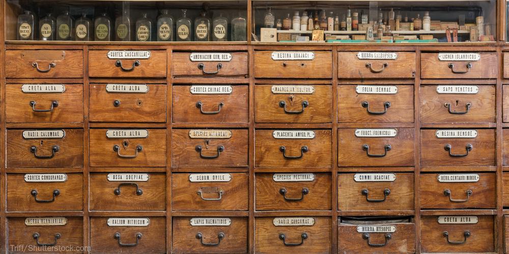Old pharmacy shelves